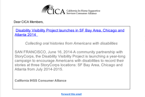 Screenshot of a CICA newsletter that shares the press release of the Disability Visibility Project