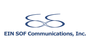 A logo that looks like a swirling letter 'E' that is entwined with another letter 'E' with the text below that says  EIN SOF Communications, Inc.,