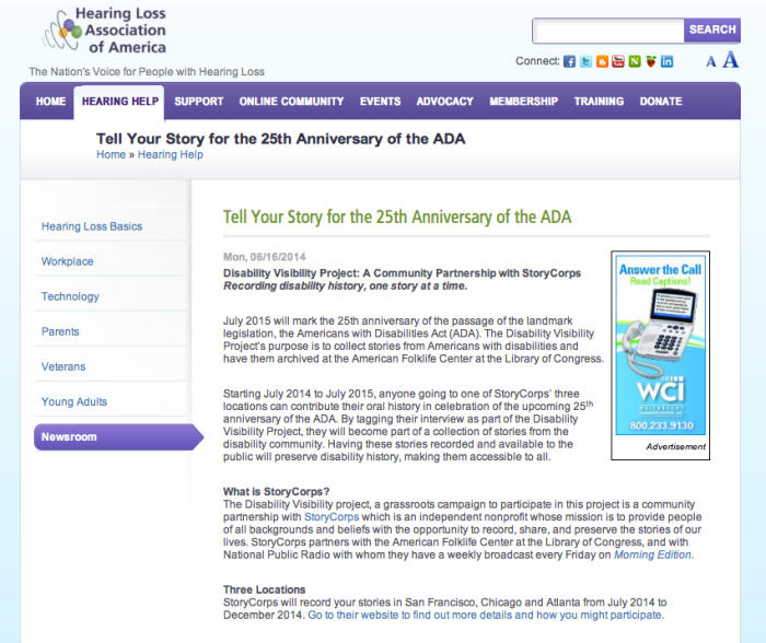 """Screen shot of the story from the website of the Hearing Loss Association of America. (June 16, 2014): with the title """"Tell Your Story for the 25th Anniversary of the ADA"""""""