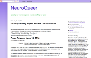 "Screenshot from NeuroQueer's blog with the title: ""Disability Visibility Project: How You Can Get Involved"""