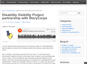 Screen shot from Who Am I To Stop It community blog: http://whoamitostopit.com/2014/07/03/disability-visibility-project-storycorp/