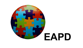 Image of a circle filled with multicolored jigsaw pieces against a white background. On the lower right-hand side in bold black letters: EAPD
