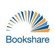 Logo for Bookshare with the word 'Bookshare' and a blue and orange pages fanned in an arc above the word.
