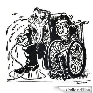 Black and white illustration of a person in a wheelchair being squeezed by a caricature of Jerry Lewis who is speaking from a microphone as tears are pouring out of him, forming a puddle on the floor