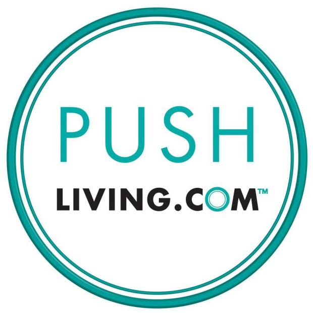 Image of Two turquoise colored circles. Inside the circle is the text: PUSH Living.com