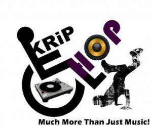 Logo for KRIP HOP with a wheelchair symbol with the person tipped back in the wheelchair, a turntable is in the center of the wheel, on the right side is a person breakdancing