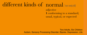 Orange background with the words: Different Kinds of Normal.