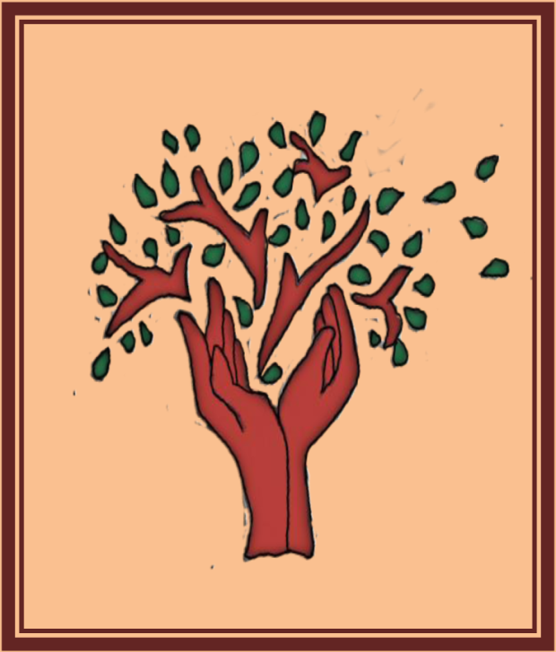 Image of a tree made of a figure of two outstretched hands as the trunk of the tree in brown. Other banshees are extending from the 2 hands with various green leaves.