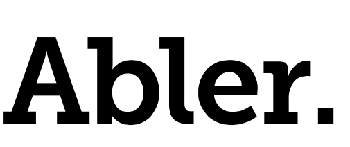 White background and black bold font is the word: Abler.