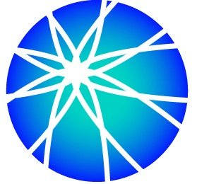 White background with a blue circle in the middle. Inside the blue circle are white lines that make a cross-cross pattern in the shape of a star
