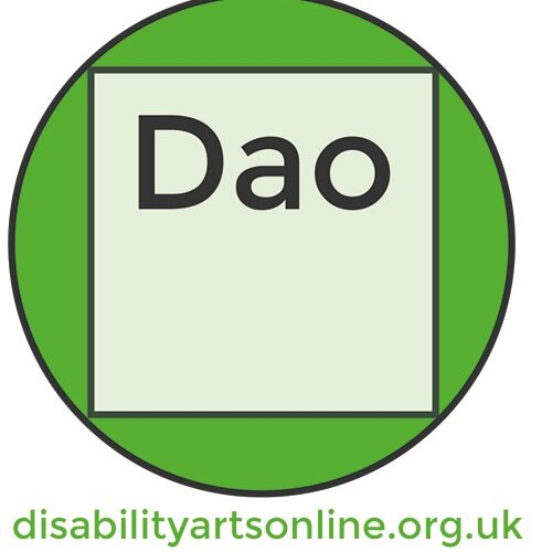White background. A green circle in the center. An off-white square inside the circle with the word 'Dao' inside the square. Below the green circle are the words: disabilityartsonline.org.uk/