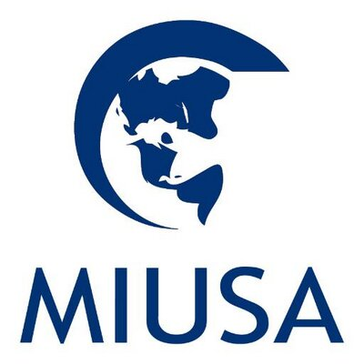 Blue logo against a white background. The image of a globe with a circular arc. Below in capital letters are: MIUSA.