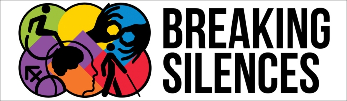 "Logo that reads ""Breaking Silences"" On the left hand side of the text are numerous intersecting circles in different colors. Each circle has a different image: the male and female symbols, two hands signing in American Sign Language, a stick figure with a cane, the image of a person's head and brain, an figure of a wheelchair user."