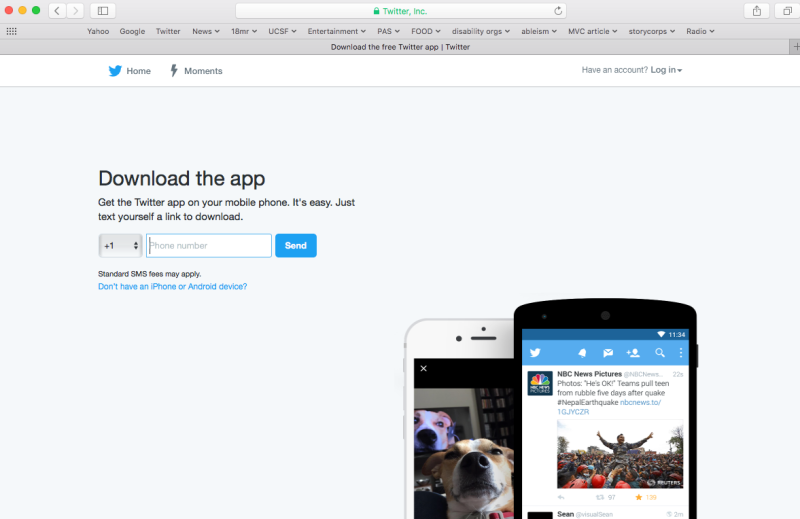 Screenshot of a desktop computer open to the main page for Twitter.com