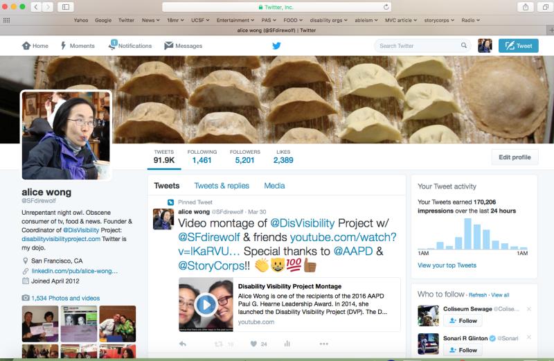 Screenshot of the main page of @SFdirewolf's account on Twitter