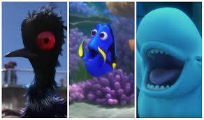 "An animated scene from the Pixar film ""Finding Dory."" A triptych of 3 characters: Becky the loon, Dory the blue tang, and Bailey the beluga whale"