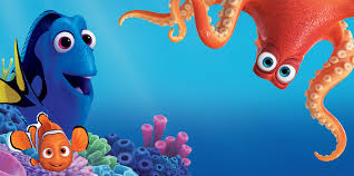 "An animated scene from the Pixar film ""Finding Dory."" Under the ocean you see a blue tang fish, a clown fish and an octopus"