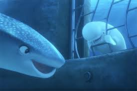 "An animated scene from the Pixar film ""Finding Dory."" Underwater scene where Destiny the whale shark is speaking inside a pipe. A beluga whale is separated by iron bars next to her."