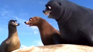 "An animated scene from the Pixar film ""Finding Dory."" Two large sea lions staring down at another 'goofy' looking sea lion."