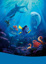 "An animated scene from the Pixar film ""Finding Dory."" An underwater scene with wide array of diverse sea life: sea turtles, whale shark, beluga whale, blue tang, octopus, manta ray, clownfish and other small creatures."