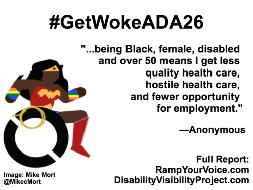 "White background with black text that reads: #GetWokeADA26 ""...being Black, female, disabled and over 50 means I get less quality health care, hostile health care, and fewer opportunity for employment."" —Anonymous. On the left-hand side is an image of a Black Wonder Woman character in a wheelchair. She has rainbow wristbands and a golden lasso by her wheel. Image: Mike Mort @MikeeMort. On the lower right-hand side: Full report: RampYouVoice.com DisabilityVisibilityProject.com"
