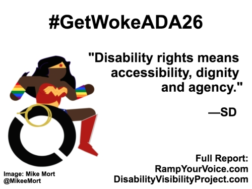 "White background with black text that reads: #GetWokeADA26 ""Disability rights means accessibility, dignity and agency."" —SD. On the left-hand side is an image of a Black Wonder Woman character in a wheelchair. She has rainbow wristbands and a golden lasso by her wheel. Image: Mike Mort @MikeeMort. On the lower right-hand side: Full report: RampYouVoice.com DisabilityVisibilityProject.com"