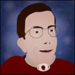 An illustration of a white man with brown hair and eyeglasses. He has a dark red sweater on and a tracheostomy in the center of his neck marked by a white oval with a hole. The background is dark purple-blue with splotches of light purple throughout.