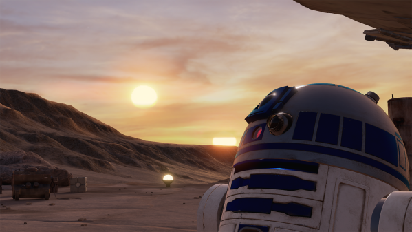 "Illustration from a Lucasfilm Ltd ILMxLAB virtual reality experience, ""Trials on Tatooine."" The image shows in the character R2-D2 from the Star Wars universe in the lower-right side of the image in the foreground. R2-D2 is a droid with white and blue markings including a camera and several other tools and sensors on the upper part of its body. In the background is the Tatooine, a fictional desert planet from the Star Wars universe. The background shows several rocky formations, a pale sky with scattered clouds and two suns low to the horizon."